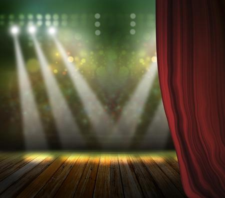 Theater Bühne mit roten Vorhängen und Scheinwerfer. Standard-Bild - 35960040