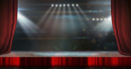 Scène de théâtre avec des rideaux rouges et des projecteurs. Banque d'images - 36008087