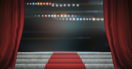 searchlights: Red stage curtain open on premiere. Stock Photo