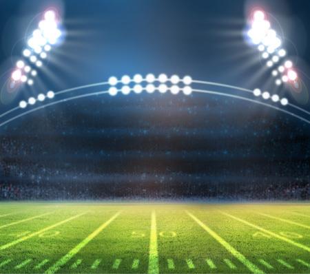 gradas estadio: Luces del estadio en un campo de deportes en la noche
