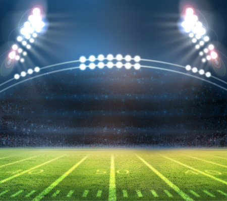sports field: Stadium lights on a sports field at night Stock Photo