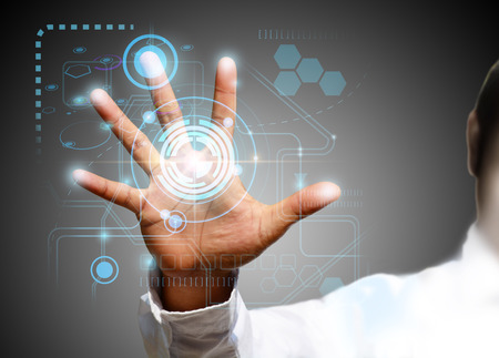 technology metaphor: touch screen technology Stock Photo