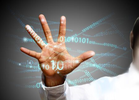touch screen hand: touch screen technology Stock Photo