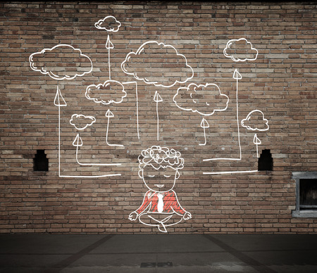 cloudshape: drawing cloud network on the wall Stock Photo