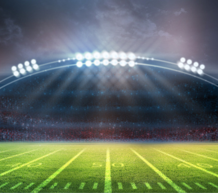 football goal post: bright spotlights