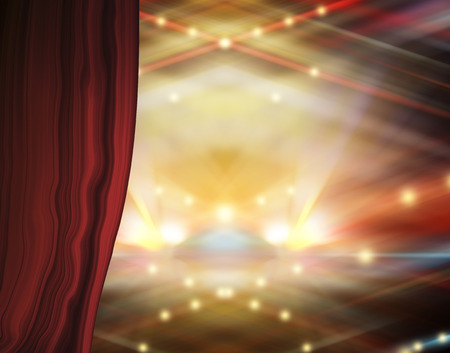 searchlights: Theater stage with red curtains and spotlights.