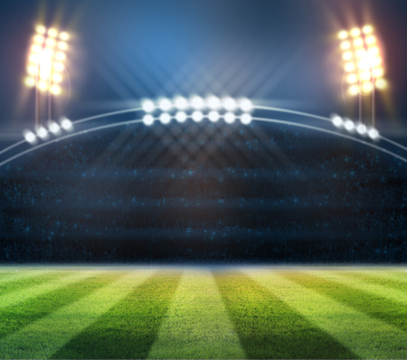 football stadium: lights at night and stadium