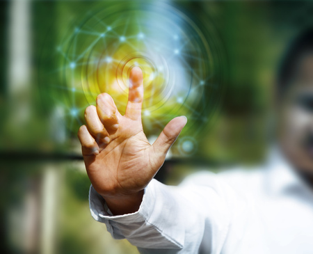 virtual technology: Business person working with modern virtual technology