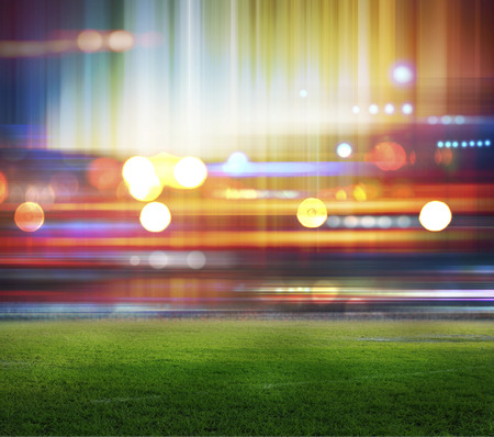 floodlit: stadium in lights and flashes