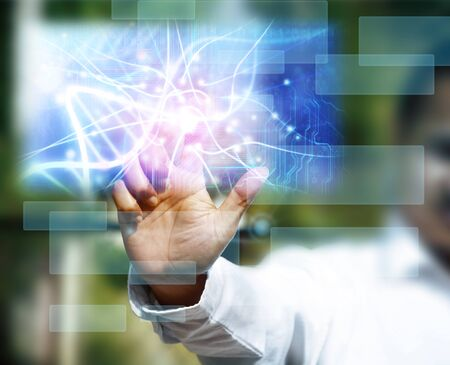 alternating: scientist touching DNA molecule image at media screen