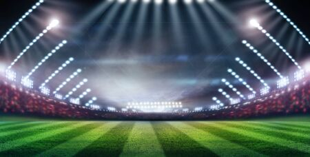 Lights at night and stadium 3D rendering. Imagens
