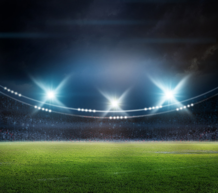 stadium in lights and flashes 3D rendering. Stock Photo