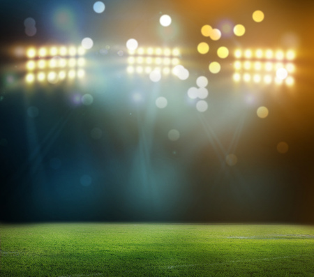 stadium in lights and flashes 3D rendering. Archivio Fotografico