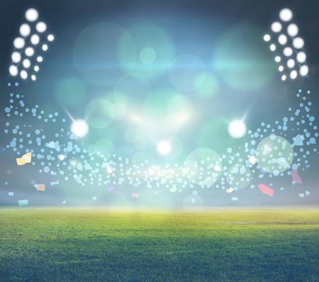 Luces en la noche y el estadio 3d Foto de archivo - 94106157