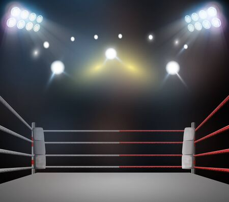 Boxring mit Beleuchtung durch Scheinwerfer. digitaler Effekt 3d übertragen.
