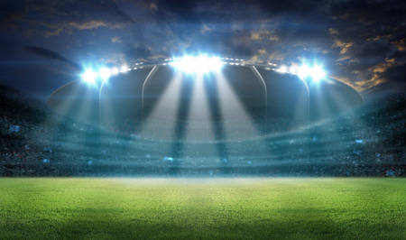 stadium in lights and flashes 3D rendering. Foto de archivo