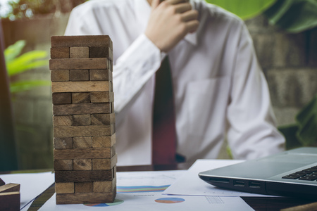 business  hand stop dominoes continuous toppled