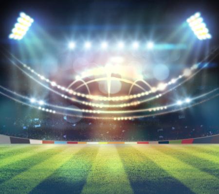 lights at night and stadium  Stock Photo