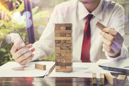 business  hand stop dominoes continuous toppled or risk with copyspace