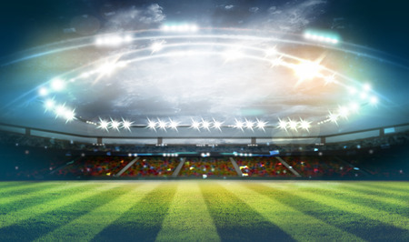 lights at night and football stadium 3D Standard-Bild - 96890177