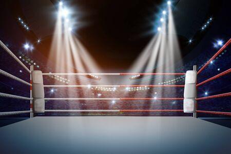 boxing ring with illumination by spotlights. - Illustration Standard-Bild - 128904885