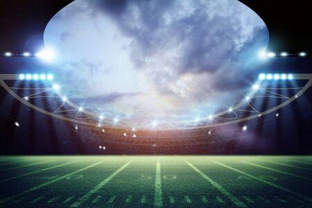 Representación 3d del estadio de fútbol americano - Ilustración Foto de archivo