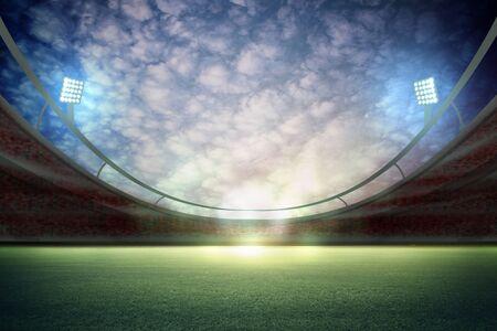 lights at night and stadium 3d render