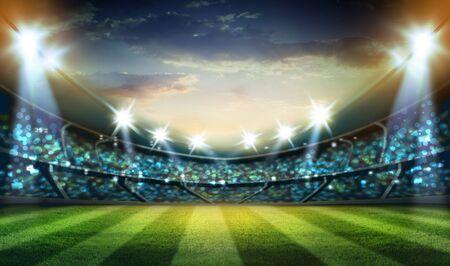 luces en la noche y representación 3D del estadio. Foto de archivo