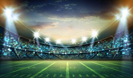 Representación 3d del estadio de fútbol americano
