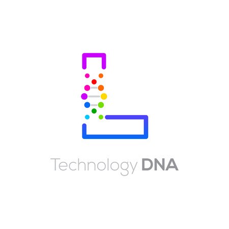 Letter L colorful with abstract biotechnology DNA logotype. Medicine, science, laboratory,Technology DNA vector concept Ilustração