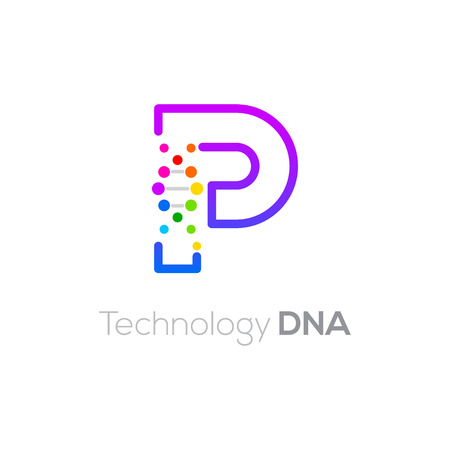 Letter P colorful with abstract biotechnology DNA logotype. Medicine, science, laboratory,Technology DNA vector concept
