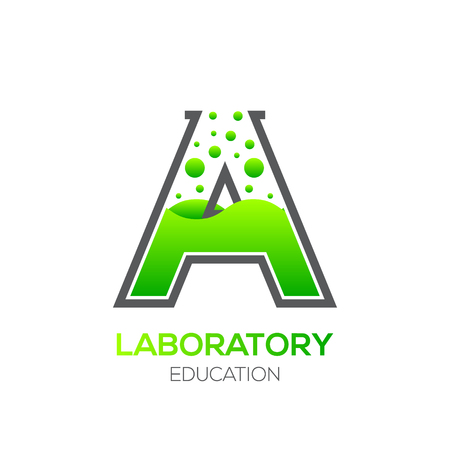 Letter A Green color,Laboratory beaker,Science education,Chemical Logotype