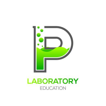Letter P Green color,Laboratory beaker,Science education,Chemical Logotype
