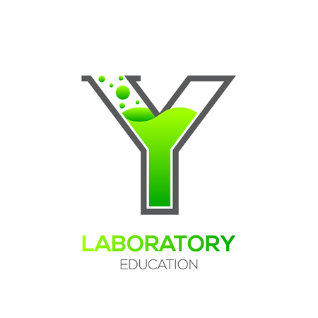 water liquid letter: Letter Y Green color,Laboratory beaker,Science education,Chemical Logotype