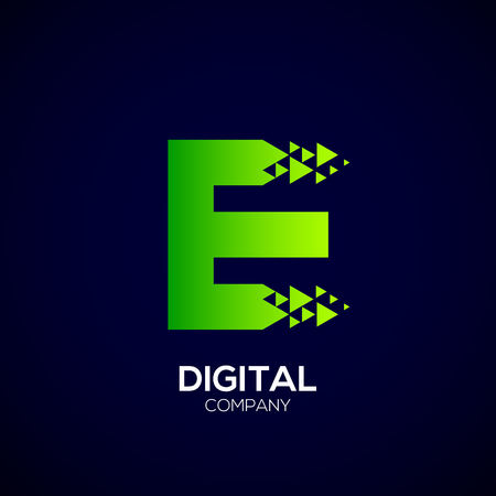 e commerce: Letter E Pixel logo, Triangle, Arrow and forward logo, Green color,Technology and digital logotype Illustration