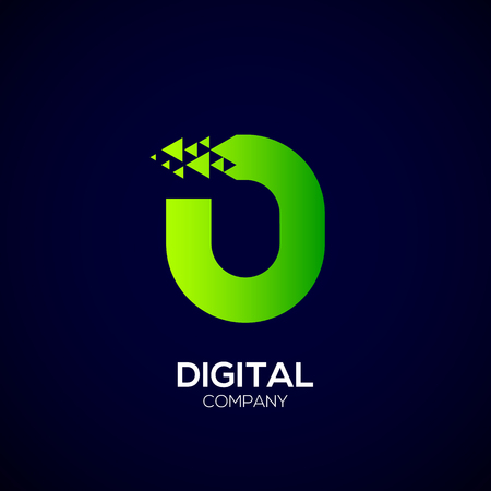 Letter O Pixel logo, Triangle, Arrow and forward logo, Green color,Technology and digital logotype