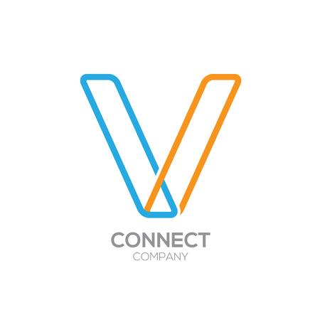 v shape: Letter V Logo Design.Linked shape square symbol