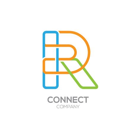 Lettre R Logo Design.Linked forme symbole carré Banque d'images - 74677157
