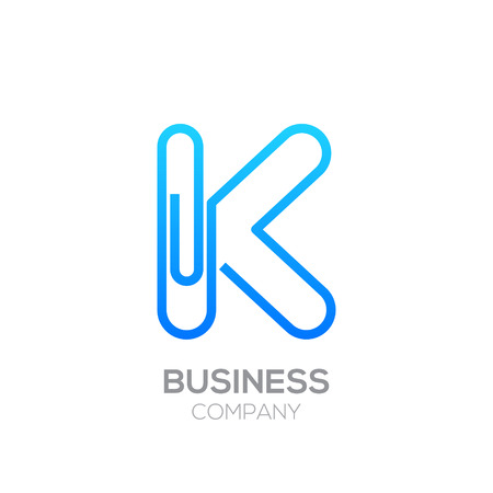 K letter from paper clip alphabet.Business and education logo concept Illustration