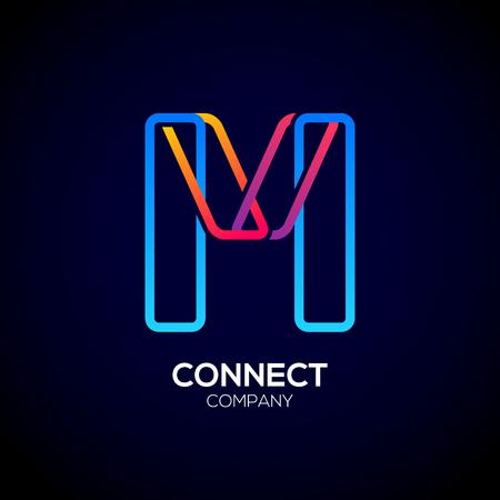 hyperlink: Letter M emblem Design Illustration