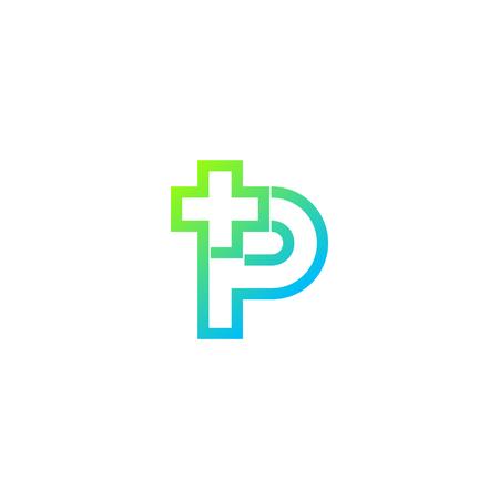 Letter P cross plus logo,Medical healthcare hospital Logotype