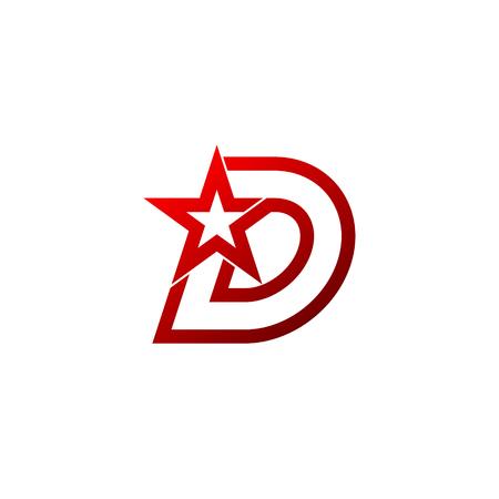 Logo de la lettre D. Signe étoile rouge Identité de marque Modèle de conception de logo inhabituel Banque d'images - 84059063