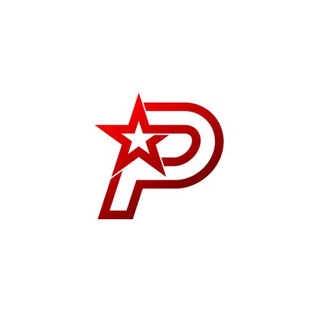 편지 P 로고. 레드 스타 기호 브랜드 아이덴티티 기업 특이한 로고 디자인 템플릿