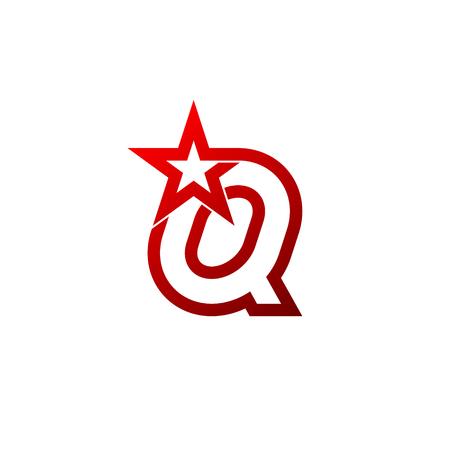 Letter Q logo. Red star sign Branding Identity Corporate unusual logo design template