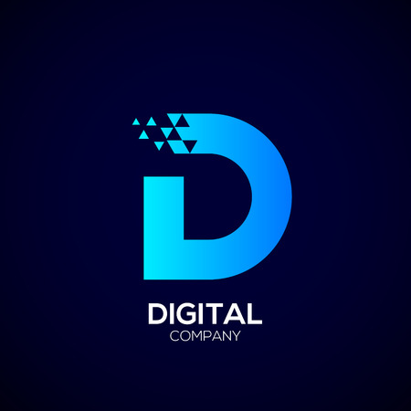 Letter D Pixel-logo, Driehoek, Blauwe kleur, Technologie en digitaal logo. Stock Illustratie