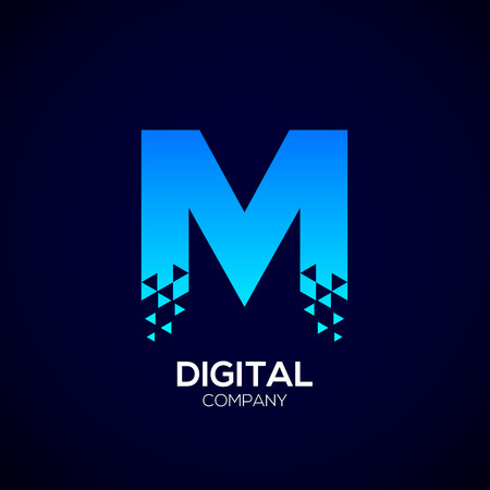 electronic commerce: Letter M Pixel logo, Triangle, Blue color,Technology and digital logotype Illustration