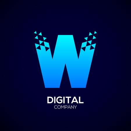 electronic commerce: Letter W Pixel logo, Triangle, Blue color,Technology and digital logotype