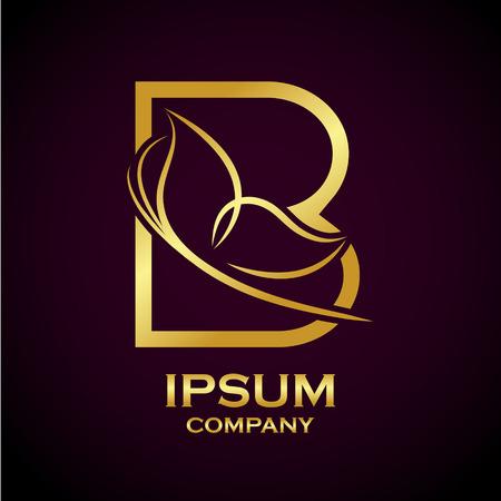 Logotipo abstracto de oro de la letra B para el negocio de belleza y bienestar