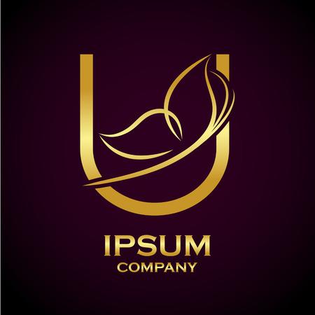 Abstract letter U goud logo voor beauty en wellness zaken