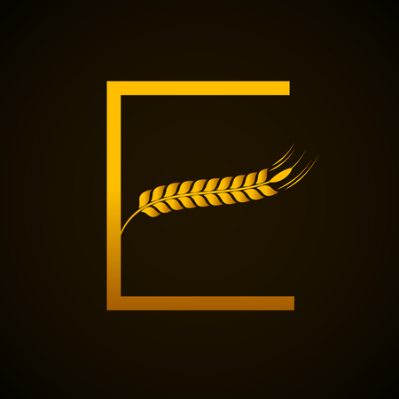Abstract gold letter E logo with wheat design